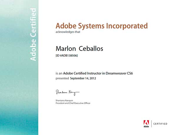 Adobe Certified Instructor - Dreamweaver CS6
